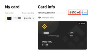 Binance creditcard info